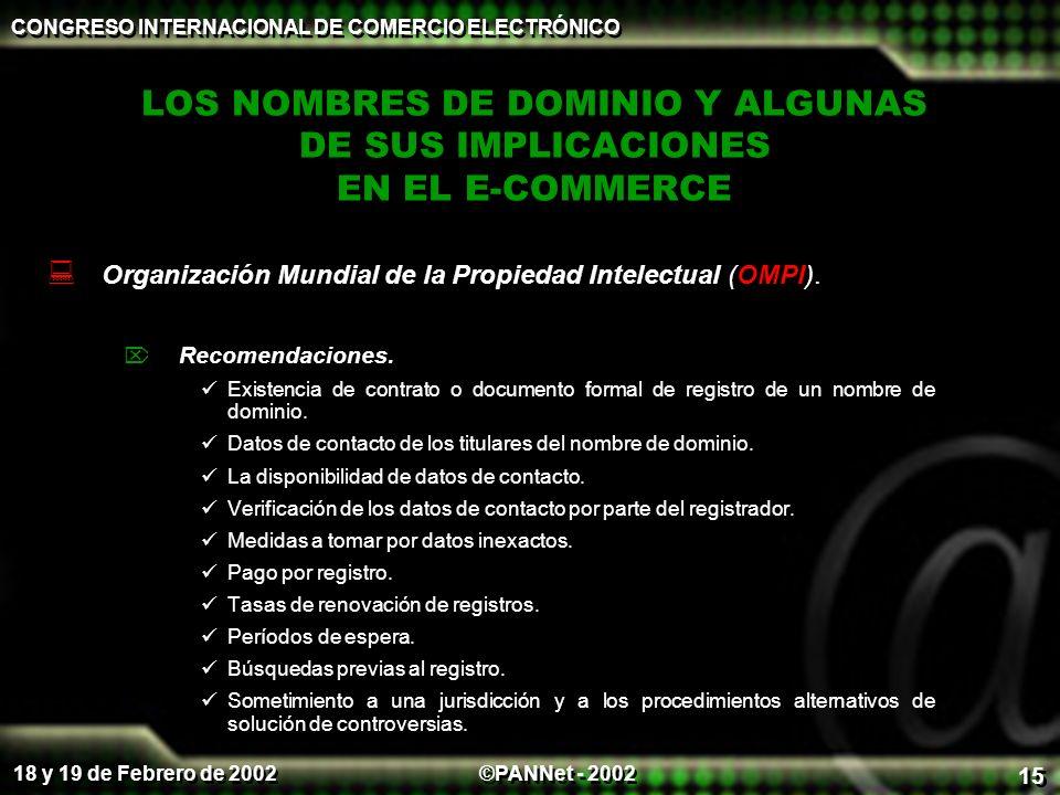 ©PANNet - 2002 CONGRESO INTERNACIONAL DE COMERCIO ELECTRÓNICO 18 y 19 de Febrero de 2002 15 LOS NOMBRES DE DOMINIO Y ALGUNAS DE SUS IMPLICACIONES EN EL E-COMMERCE Organización Mundial de la Propiedad Intelectual (OMPI).