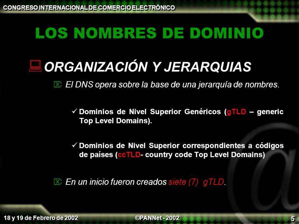 ©PANNet - 2002 CONGRESO INTERNACIONAL DE COMERCIO ELECTRÓNICO 18 y 19 de Febrero de 2002 5 LOS NOMBRES DE DOMINIO ORGANIZACIÓN Y JERARQUIAS El DNS opera sobre la base de una jerarquía de nombres.