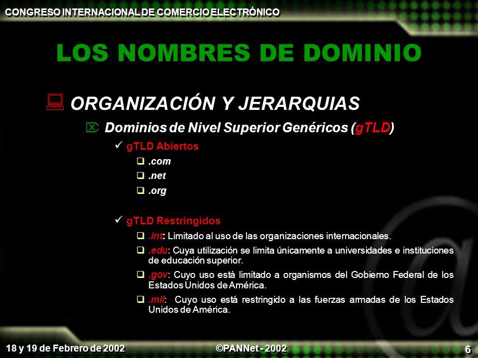 ©PANNet - 2002 CONGRESO INTERNACIONAL DE COMERCIO ELECTRÓNICO 18 y 19 de Febrero de 2002 6 LOS NOMBRES DE DOMINIO ORGANIZACIÓN Y JERARQUIAS Dominios de Nivel Superior Genéricos (gTLD) gTLD Abiertos.com.net.org gTLD Restringidos.int: Limitado al uso de las organizaciones internacionales..edu: Cuya utilización se limita únicamente a universidades e instituciones de educación superior..gov: Cuyo uso está limitado a organismos del Gobierno Federal de los Estados Unidos de América..mil: Cuyo uso está restringido a las fuerzas armadas de los Estados Unidos de América.