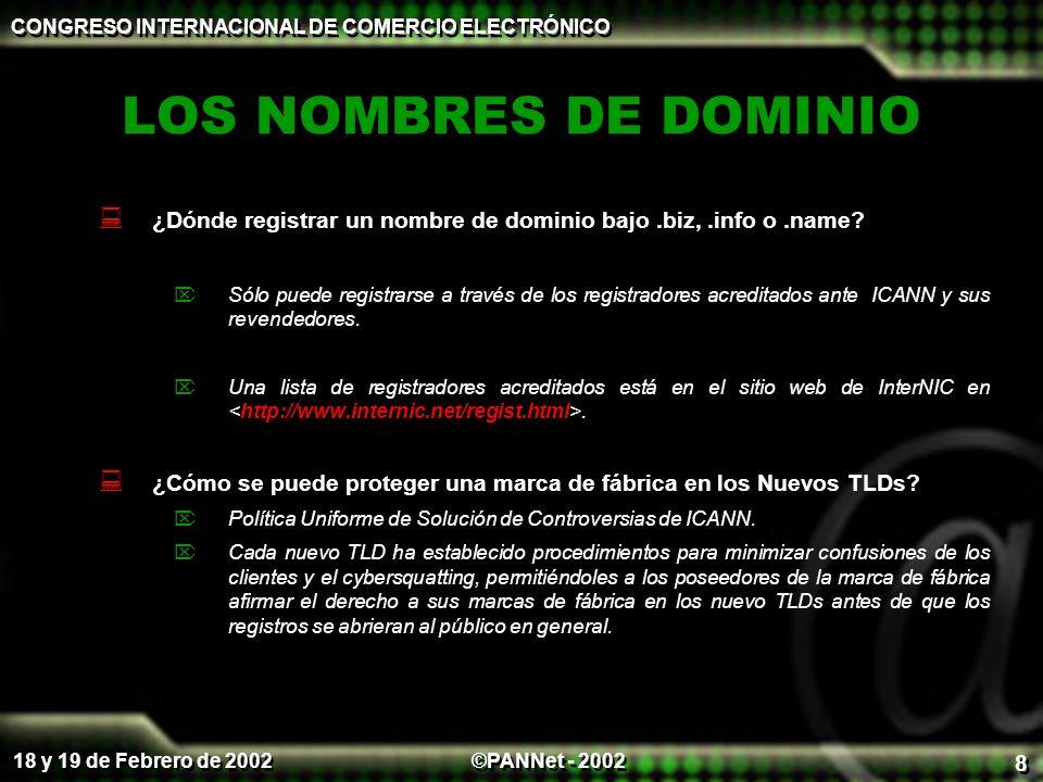 ©PANNet - 2002 CONGRESO INTERNACIONAL DE COMERCIO ELECTRÓNICO 18 y 19 de Febrero de 2002 8 LOS NOMBRES DE DOMINIO ¿Dónde registrar un nombre de dominio bajo.biz,.info o.name.