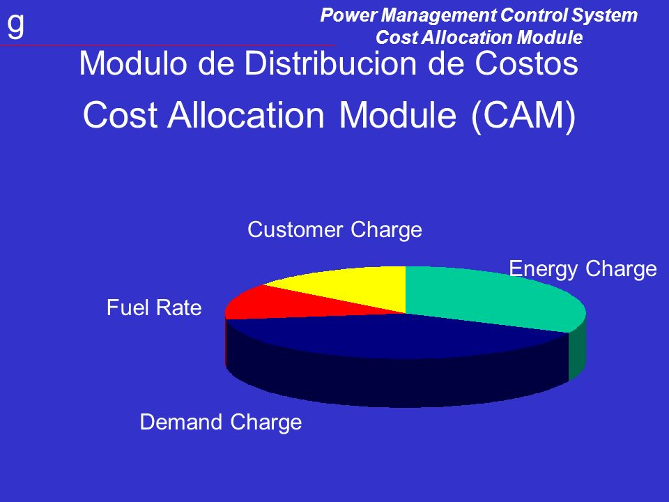 Power Management Control System Cost Allocation Module g Distribucion de Costos Monitorea demanda y consumo