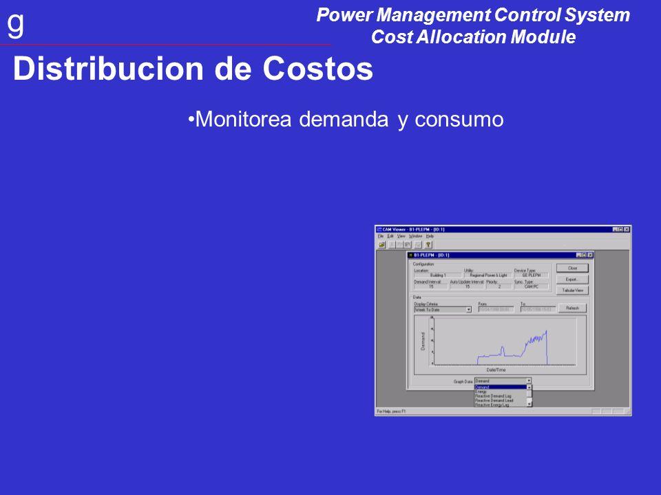 Power Management Control System Cost Allocation Module g Distribucion de Costos Simulación de perfiles de carga de consumo de energia electrica