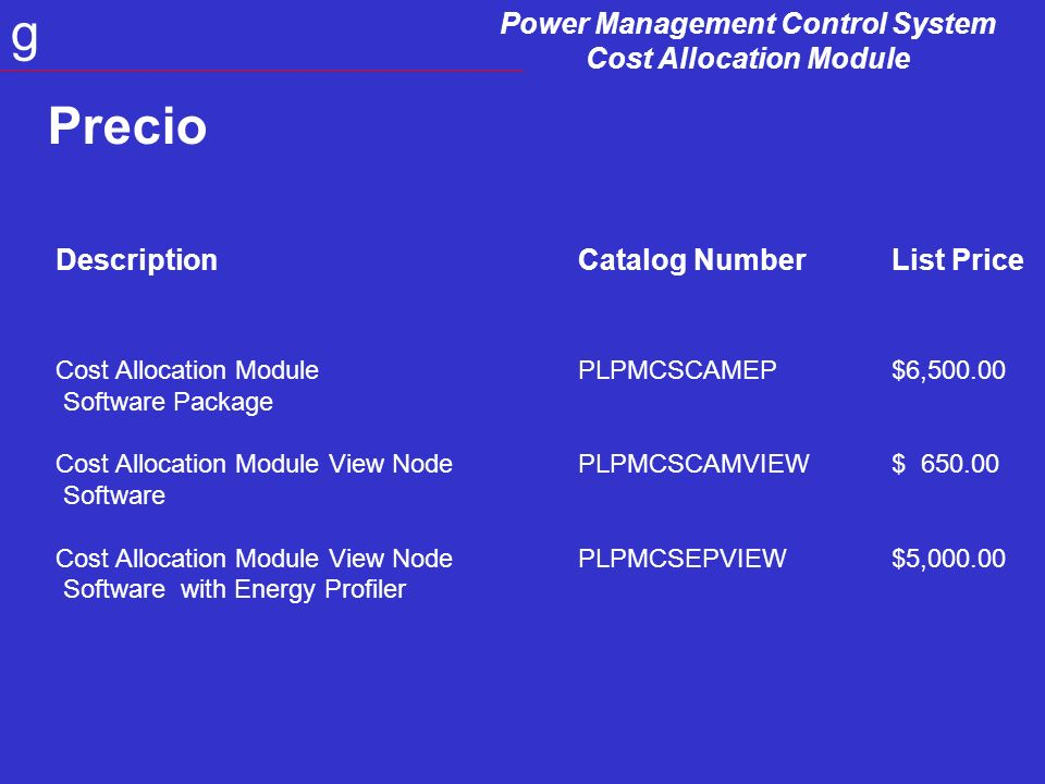 Power Management Control System Cost Allocation Module g DescriptionCatalog NumberList Price Cost Allocation Module PLPMCSCAMEP$6,500.00 Software Package Cost Allocation Module View Node PLPMCSCAMVIEW$ 650.00 Software Cost Allocation Module View Node PLPMCSEPVIEW$5,000.00 Software with Energy Profiler Precio