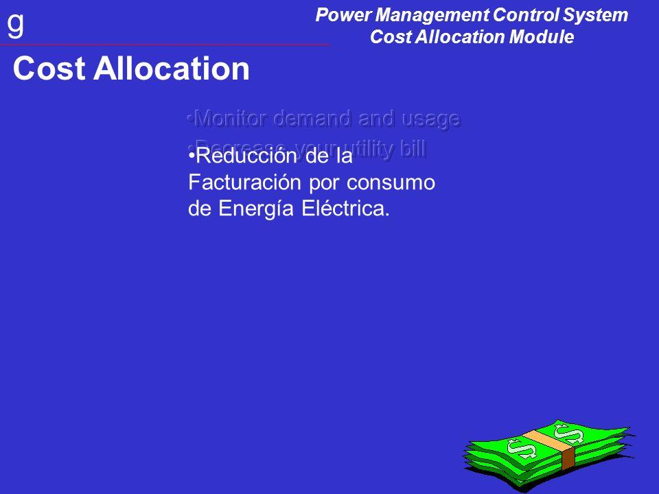 Power Management Control System Cost Allocation Module g CAM Equipos en la red Medidores –sincronizados con el medidor de la utility Medidores Virtuales.