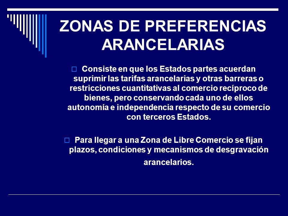 ZONAS DE PREFERENCIAS ARANCELARIAS Consiste en que los Estados partes acuerdan suprimir las tarifas arancelarias y otras barreras o restricciones cuan