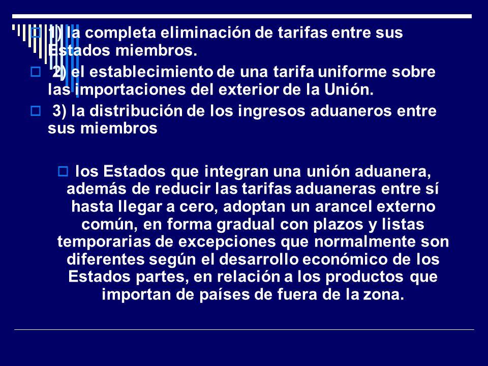 1) la completa eliminación de tarifas entre sus Estados miembros. 2) el establecimiento de una tarifa uniforme sobre las importaciones del exterior de