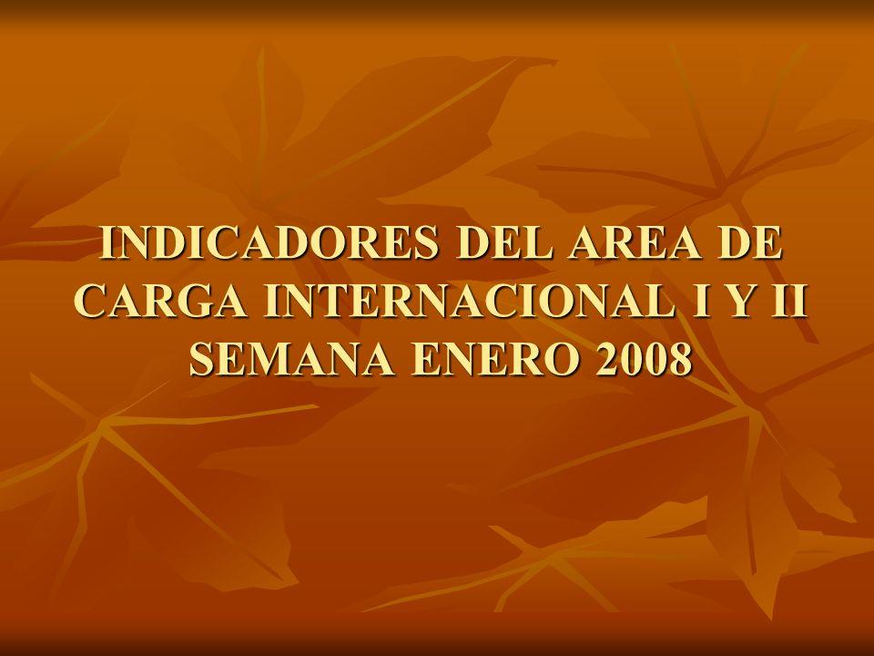 INDICADORES DEL AREA DE CARGA INTERNACIONAL I Y II SEMANA ENERO 2008