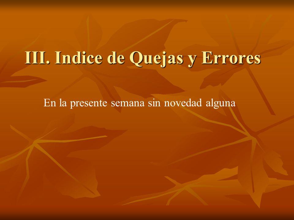 III. Indice de Quejas y Errores En la presente semana sin novedad alguna