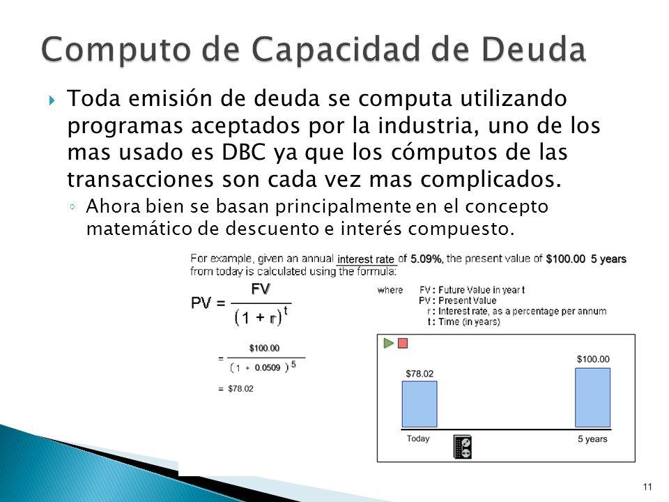 Toda emisión de deuda se computa utilizando programas aceptados por la industria, uno de los mas usado es DBC ya que los cómputos de las transacciones