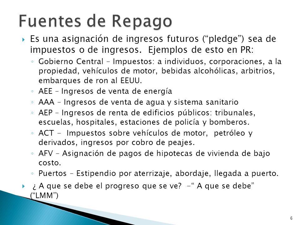 Es una asignación de ingresos futuros (pledge) sea de impuestos o de ingresos. Ejemplos de esto en PR: Gobierno Central – Impuestos: a individuos, cor