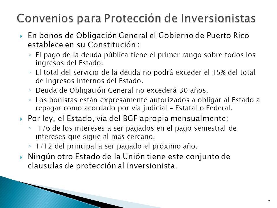 En bonos de Obligación General el Gobierno de Puerto Rico establece en su Constitución : El pago de la deuda pública tiene el primer rango sobre todos