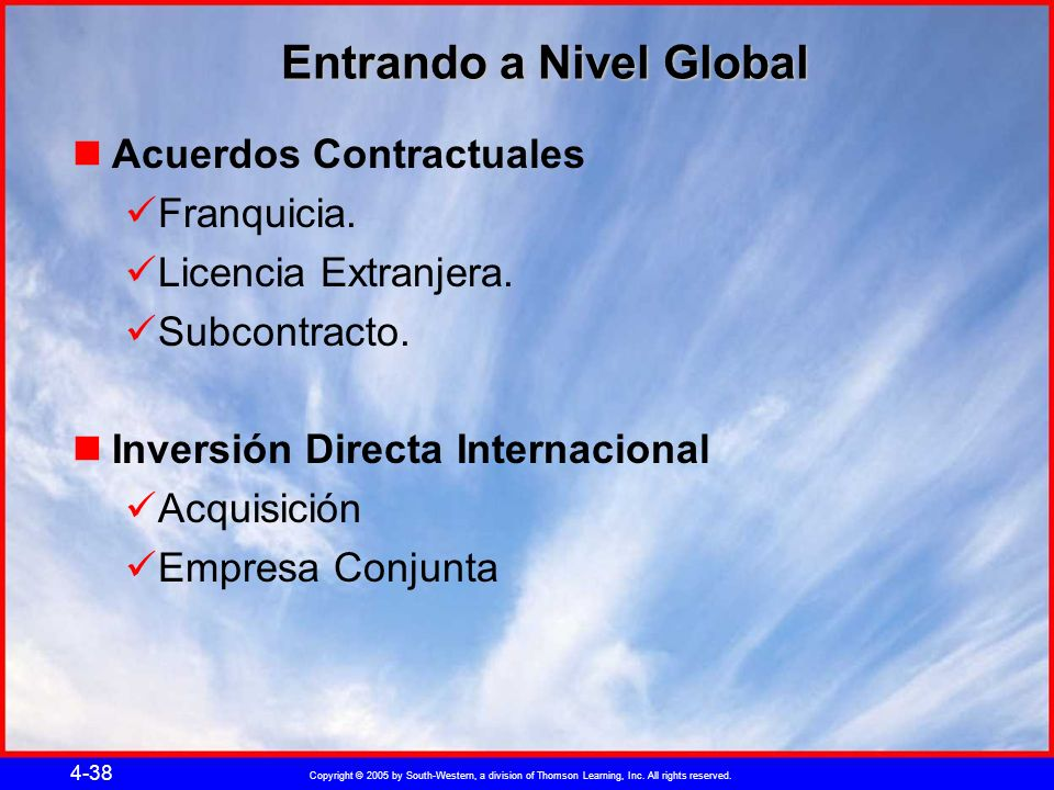 Copyright © 2005 by South-Western, a division of Thomson Learning, Inc. All rights reserved. 4-38 Entrando a Nivel Global Acuerdos Contractuales Franq