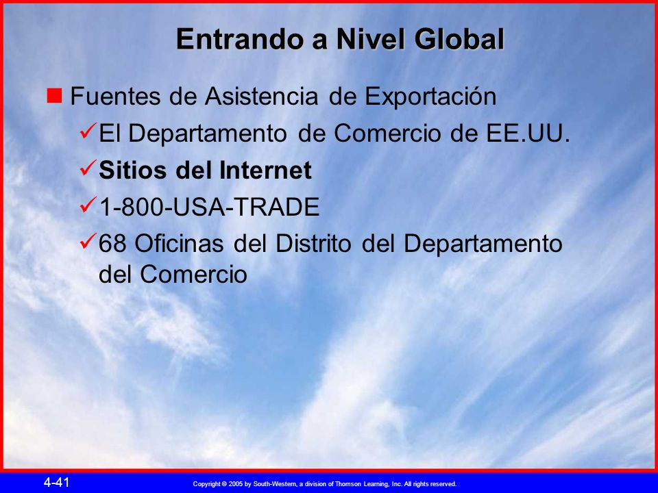 Copyright © 2005 by South-Western, a division of Thomson Learning, Inc. All rights reserved. 4-41 Entrando a Nivel Global Fuentes de Asistencia de Exp