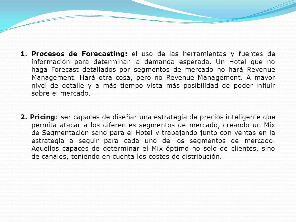 1.Procesos de Forecasting: el uso de las herramientas y fuentes de información para determinar la demanda esperada. Un Hotel que no haga Forecast deta