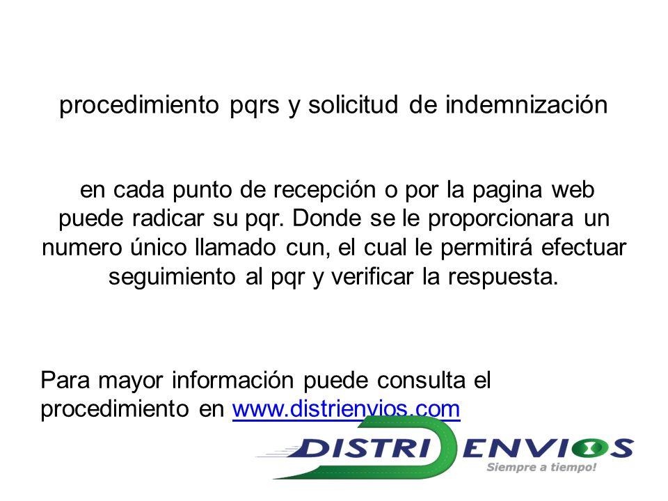 procedimiento pqrs y solicitud de indemnización en cada punto de recepción o por la pagina web puede radicar su pqr.
