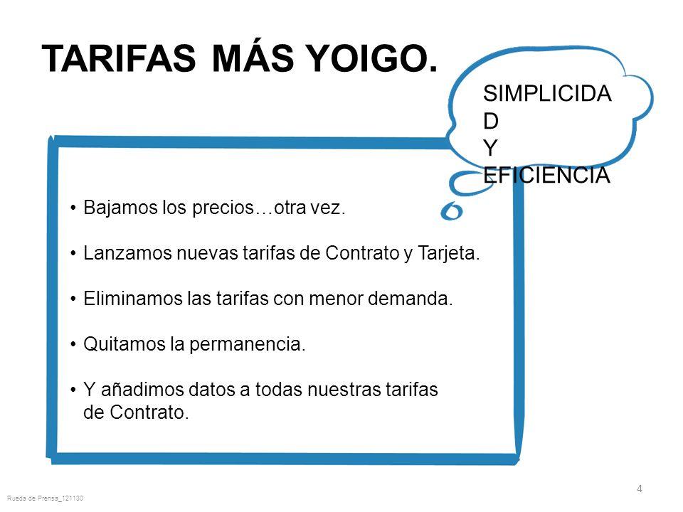 TARIFAS MÁS YOIGO. 4 SIMPLICIDA D Y EFICIENCIA Bajamos los precios…otra vez.