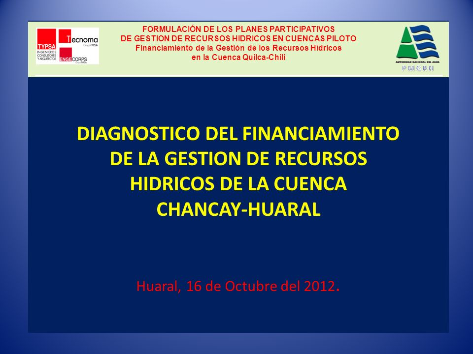 GESTION DE LOS RECURSOS HIDRICOS DE LA CUENCA DEL CHANCAY-HUARAL PRINCIPALES PROBLEMAS IDENTIFICADOS EN LAS ACTIVIDADES DE OPERACIÓN, MANTENIMIENTO Y DESARROLLO DE LA INFRAESTRUCTURA HIDRAULICA MENOR Entre los principales problemas identificados se tiene: Escasez del Recurso Hídrico en la Cuenca del Río Chancay - Huaral.
