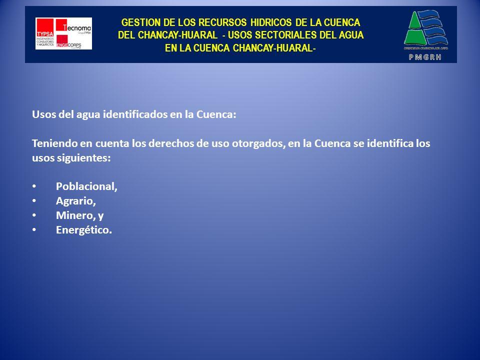 GESTION DE LOS RECURSOS HIDRICOS DE LA CUENCA DEL CHANCAY-HUARAL - DERECHOS DE USO DE AGUA SUPERFICIAL OTORGADOS - NUMERO Y VOLUMEN DE DERECHOS DE USOS OTORGADOS SEGÚN TIPO O SECTOR PRODUCTIVO CONSUNTIVO Y NO CONSUNTIVO CONCEPTO NUMERO DE USUARIOS VOLUMEN (m3) USOS CONSUNTIVOS 8 945 275 553 479 USOS AGRARIOS 8 921 255 733 103 Uso Agrícola 8 921 255 733 103 TOTAL 8 921 255 733 103 USOS NO AGRARIOS 24 19 820 376 Minero 18 110 376 Poblacional 6 19 710 000 1 0 0 TOTAL 24 19 820 376 USOS NO CONSUNTIVOS 18 377 610 832 Energético 18 377 610 832 TOTAL 18 377 610 832 TOTAL GENERAL 8 963 653 164 311 Fuente: Elaboración propia con base en la in formación proporcionada por el Area del Valor Económico del Agua.