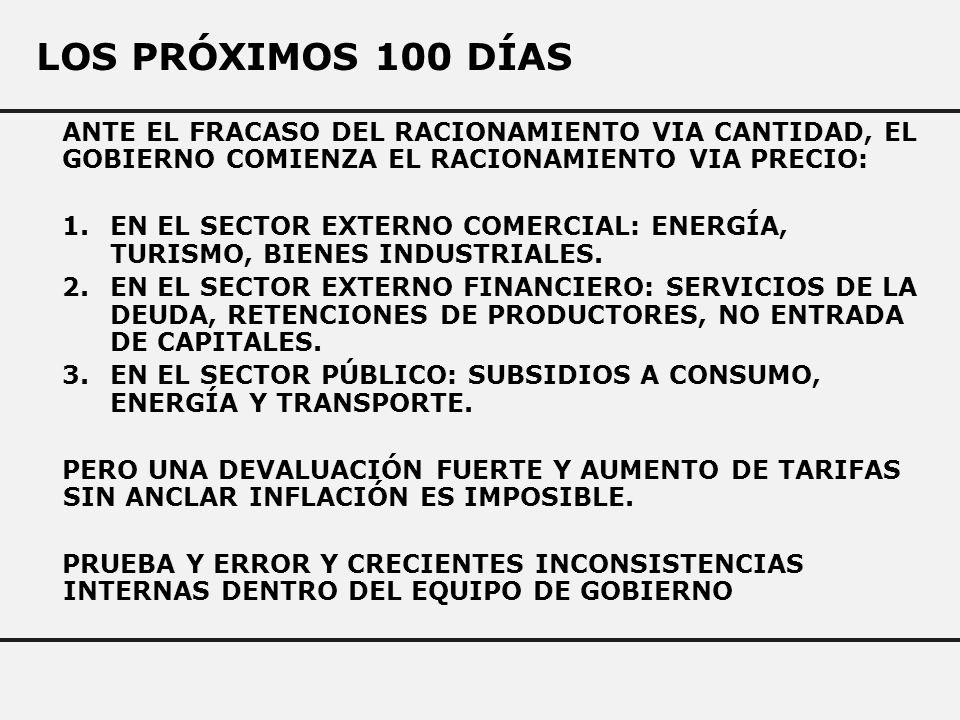 LOS PRÓXIMOS 100 DÍAS ANTE EL FRACASO DEL RACIONAMIENTO VIA CANTIDAD, EL GOBIERNO COMIENZA EL RACIONAMIENTO VIA PRECIO: 1.EN EL SECTOR EXTERNO COMERCIAL: ENERGÍA, TURISMO, BIENES INDUSTRIALES.