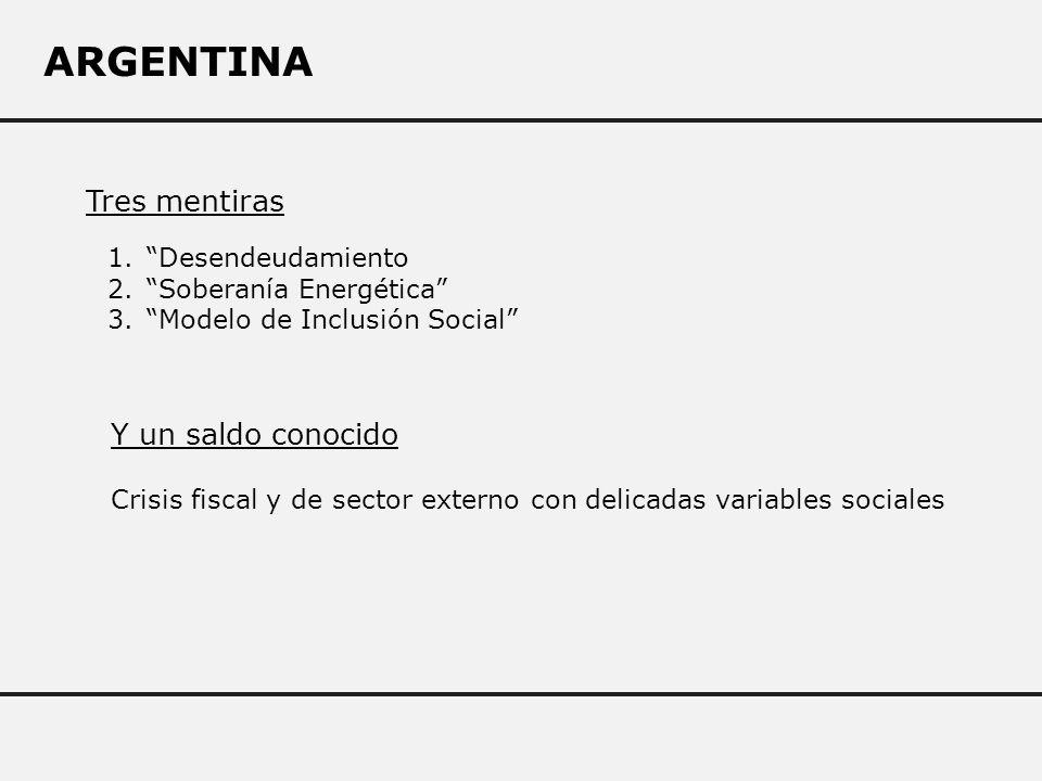 ARGENTINA 1.Desendeudamiento 2.Soberanía Energética 3.Modelo de Inclusión Social Tres mentiras Y un saldo conocido Crisis fiscal y de sector externo con delicadas variables sociales