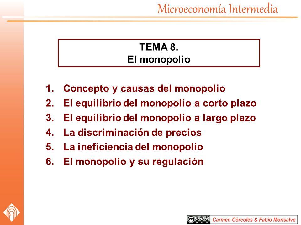 1.Concepto y causas del monopolio 2.El equilibrio del monopolio a corto plazo 3.El equilibrio del monopolio a largo plazo 4.La discriminación de preci