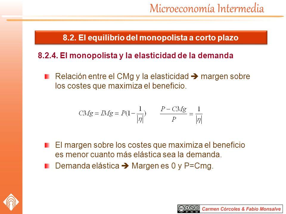 8.2. El equilibrio del monopolista a corto plazo 8.2.4. El monopolista y la elasticidad de la demanda Relación entre el CMg y la elasticidad margen so