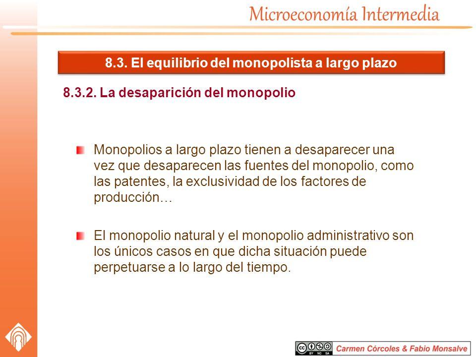 8.3. El equilibrio del monopolista a largo plazo 8.3.2. La desaparición del monopolio Monopolios a largo plazo tienen a desaparecer una vez que desapa