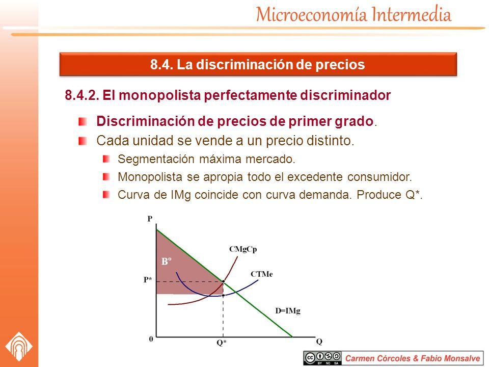8.4. La discriminación de precios 8.4.2. El monopolista perfectamente discriminador Discriminación de precios de primer grado. Cada unidad se vende a