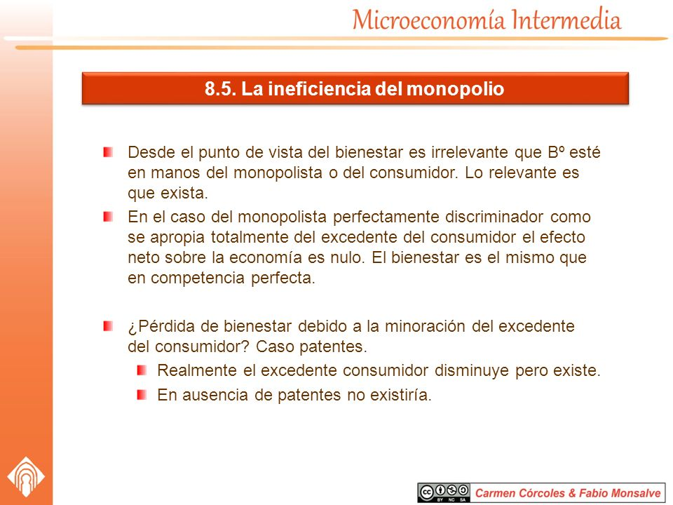 8.5. La ineficiencia del monopolio Desde el punto de vista del bienestar es irrelevante que Bº esté en manos del monopolista o del consumidor. Lo rele