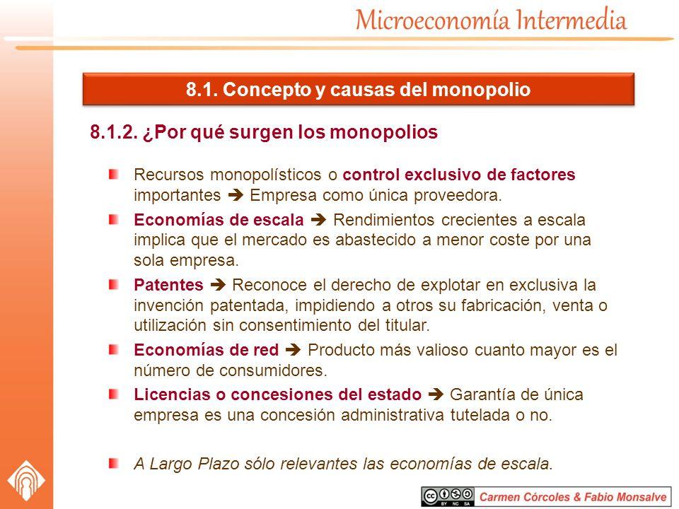 8.1. Concepto y causas del monopolio 8.1.2. ¿Por qué surgen los monopolios Recursos monopolísticos o control exclusivo de factores importantes Empresa