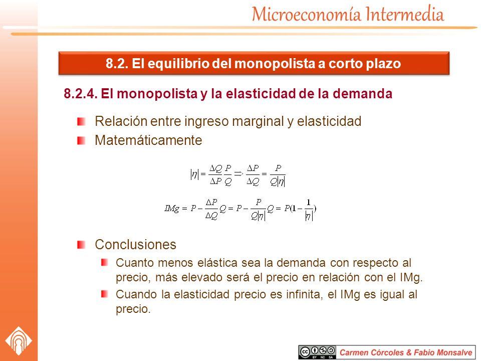 8.2. El equilibrio del monopolista a corto plazo 8.2.4. El monopolista y la elasticidad de la demanda Relación entre ingreso marginal y elasticidad Ma