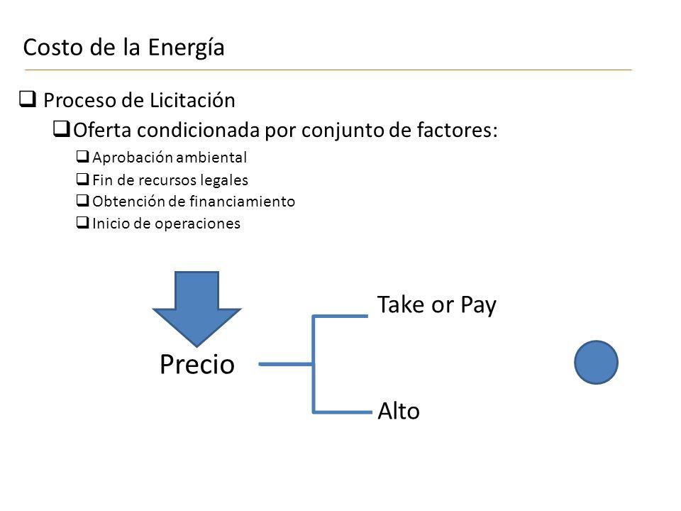 Proceso de Licitación Oferta condicionada por conjunto de factores: Costo de la Energía Precio Take or Pay Alto Aprobación ambiental Fin de recursos legales Obtención de financiamiento Inicio de operaciones