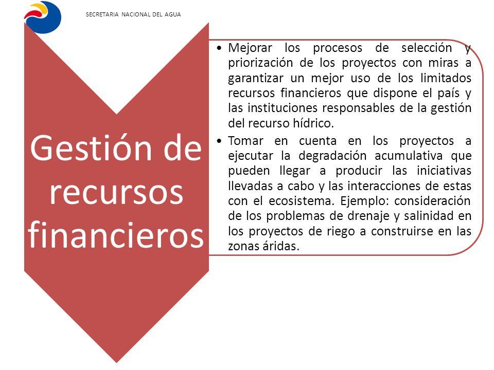 SECRETARIA NACIONAL DEL AGUA Gestión de recursos financieros Mejorar los procesos de selección y priorización de los proyectos con miras a garantizar