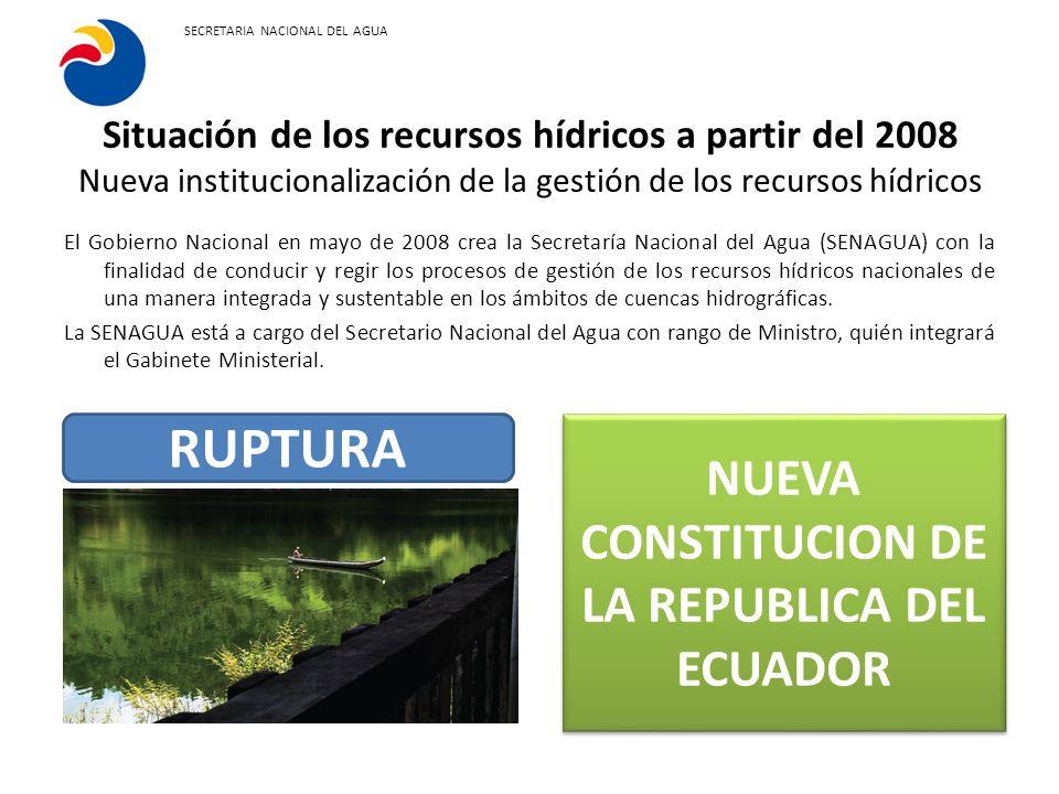 Constitución de la República del Ecuador El agua constituye patrimonio nacional estratégico de uso público, inalienable, imprescriptible, inembargable y esencial para la vida.