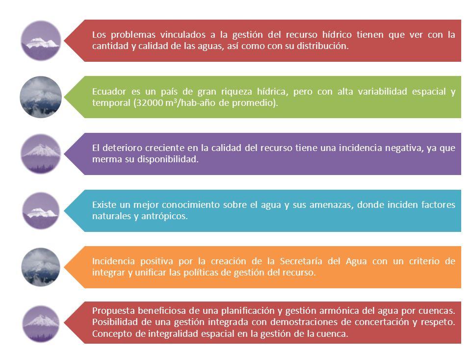 Los problemas vinculados a la gestión del recurso hídrico tienen que ver con la cantidad y calidad de las aguas, así como con su distribución. Ecuador