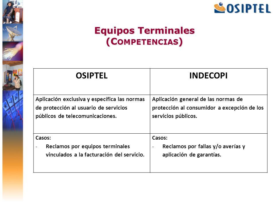 Equipos Terminales (C OMPETENCIAS ) OSIPTEL INDECOPI Aplicación exclusiva y específica las normas de protección al usuario de servicios públicos de te