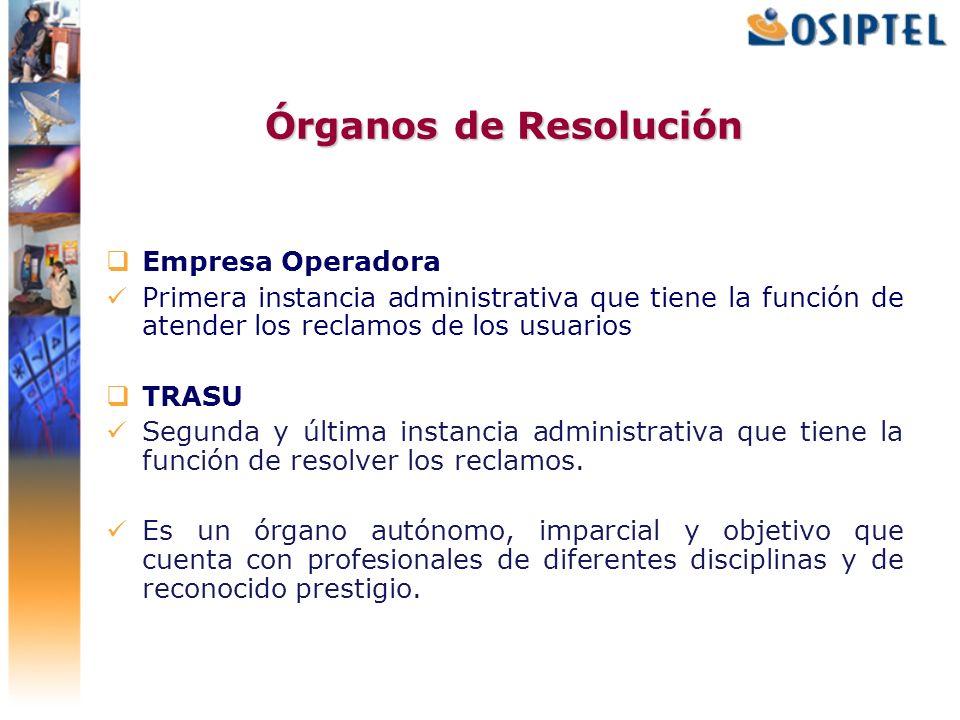 Órganos de Resolución Empresa Operadora Primera instancia administrativa que tiene la función de atender los reclamos de los usuarios TRASU Segunda y