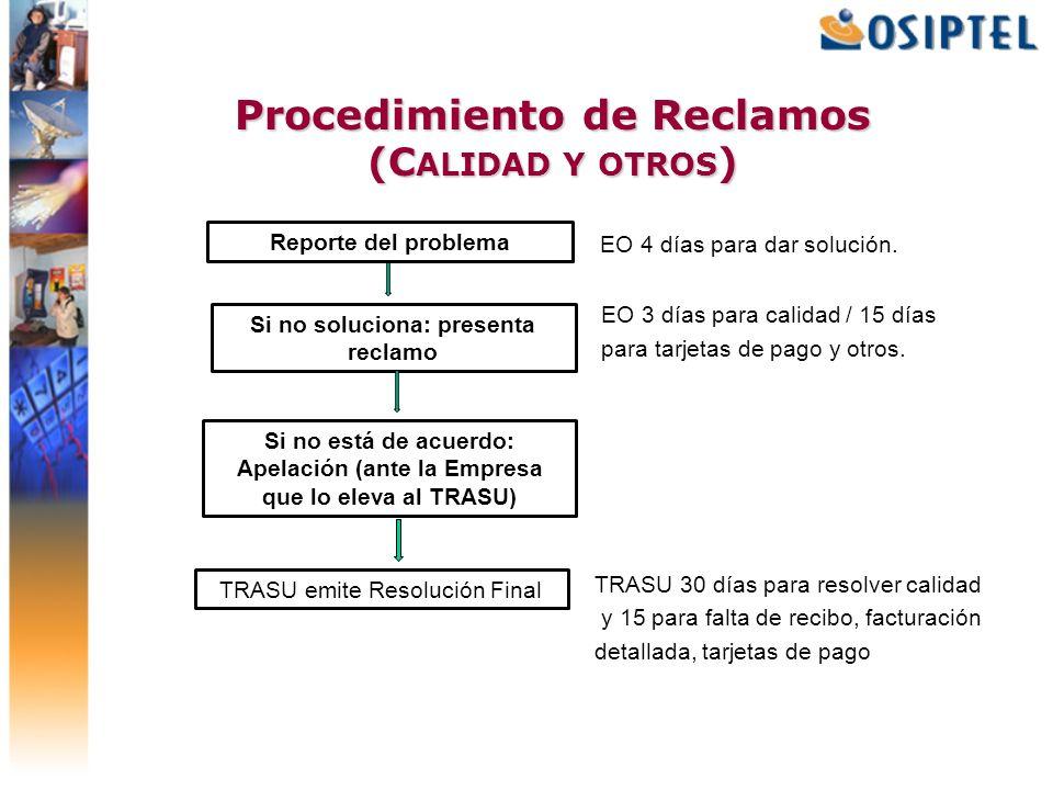 Procedimiento de Reclamos (C ALIDAD Y OTROS ) EO 4 días para dar solución. EO 3 días para calidad / 15 días para tarjetas de pago y otros. TRASU 30 dí