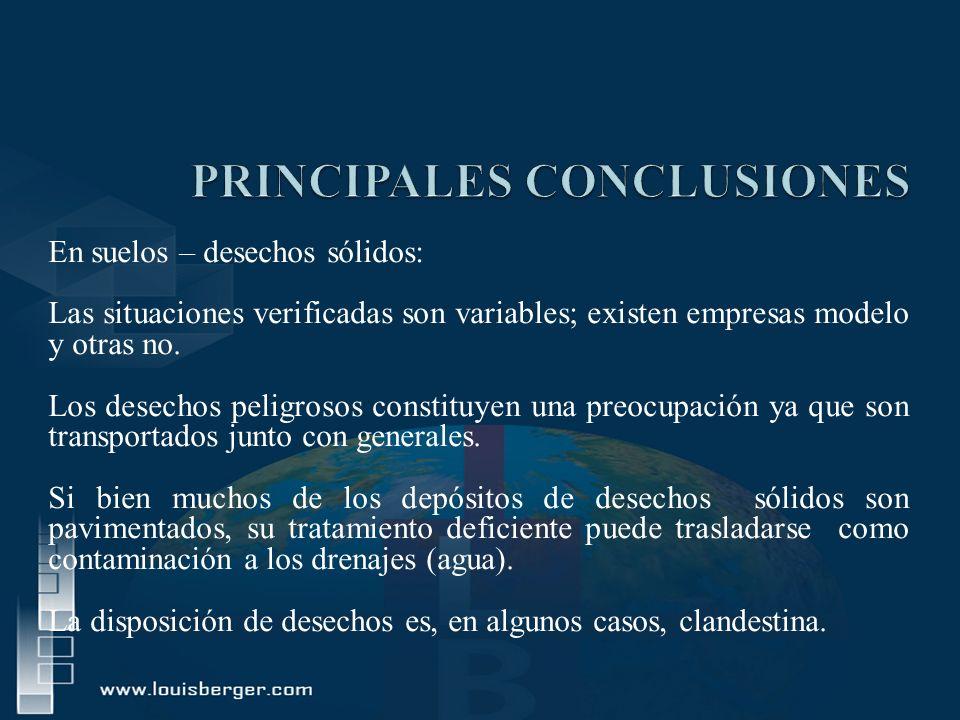 En suelos – desechos sólidos: Las situaciones verificadas son variables; existen empresas modelo y otras no. Los desechos peligrosos constituyen una p