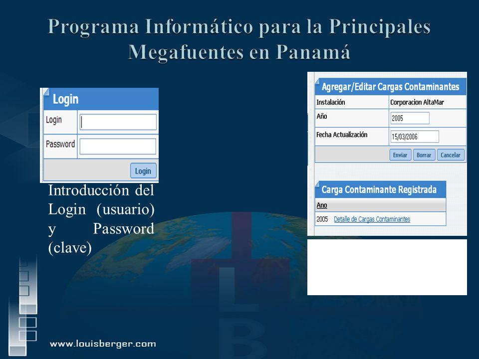 Introducción del Login (usuario) y Password (clave) Figura No.19. Pantalla principal de Registro de Cargas Contaminantes.