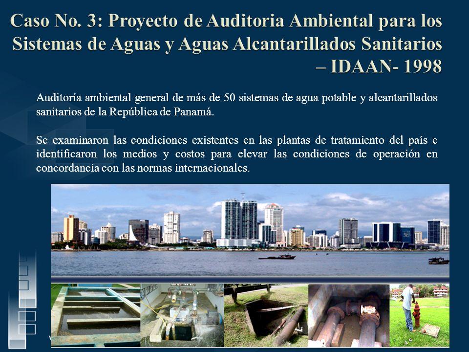 Auditoría ambiental general de más de 50 sistemas de agua potable y alcantarillados sanitarios de la República de Panamá. Se examinaron las condicione