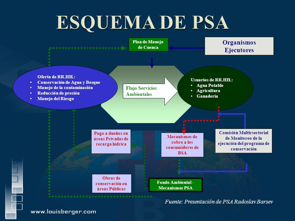 ECOSISTEMAS Usuarios de RR.HH.: Agua Potable Agricultura Ganadería Mecanismos de cobro a los consumidores de BSA Comisión Multirsectorial de Monitoreo