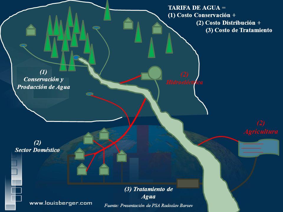 (1) Conservación y Producción de Agua (2) Sector Doméstico (3) Tratamiento de Agua TARIFA DE AGUA = (1) Costo Conservación + (2) Costo Distribución + (3) Costo de Tratamiento (2) Agricultura (2) Hidroeléctrica Fuente: Presentación de PSA Radoslav Barsev