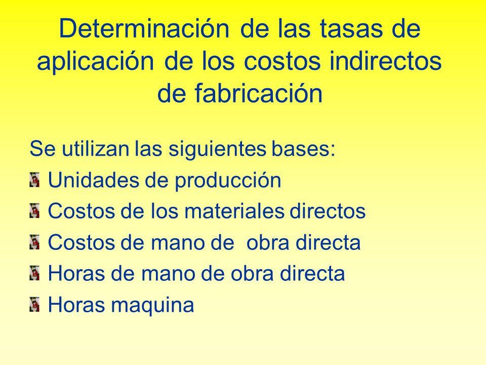 Determinación de las tasas de aplicación de los costos indirectos de fabricación Se utilizan las siguientes bases: Unidades de producción Costos de lo