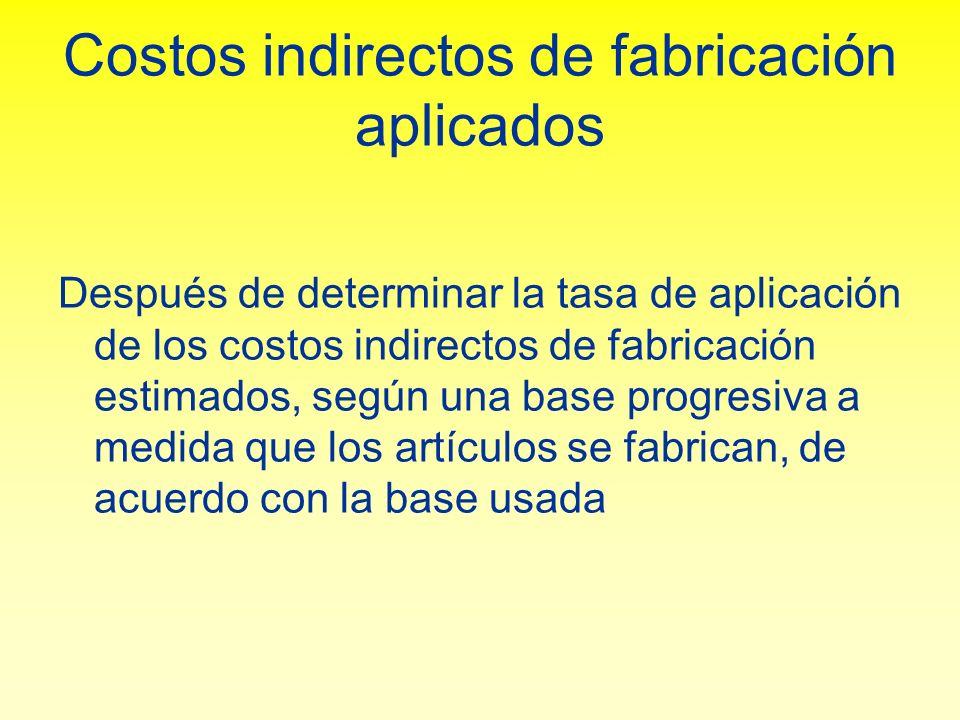 Costos indirectos de fabricación aplicados Después de determinar la tasa de aplicación de los costos indirectos de fabricación estimados, según una ba