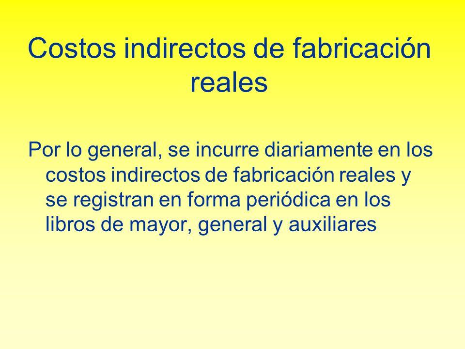 Costos indirectos de fabricación reales Por lo general, se incurre diariamente en los costos indirectos de fabricación reales y se registran en forma