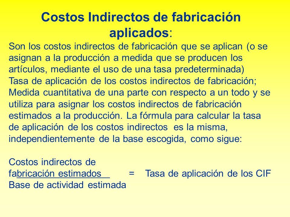 Costos Indirectos de fabricación aplicados: Son los costos indirectos de fabricación que se aplican (o se asignan a la producción a medida que se prod