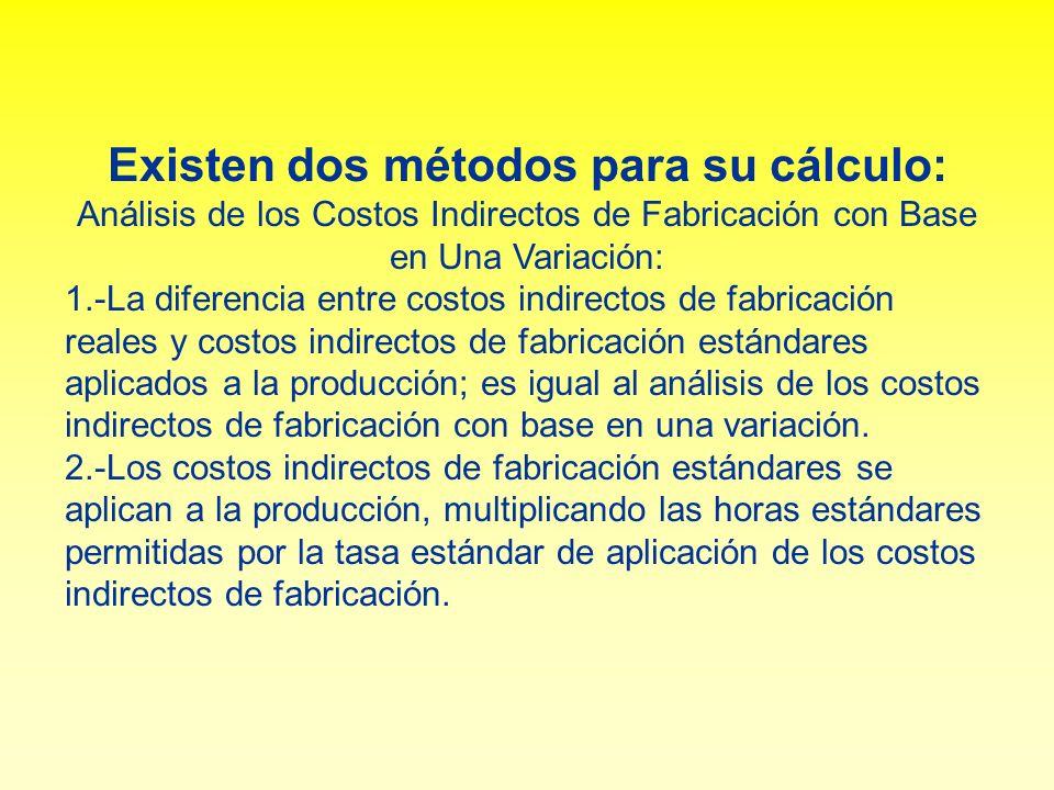Existen dos métodos para su cálculo: Análisis de los Costos Indirectos de Fabricación con Base en Una Variación: 1.-La diferencia entre costos indirec
