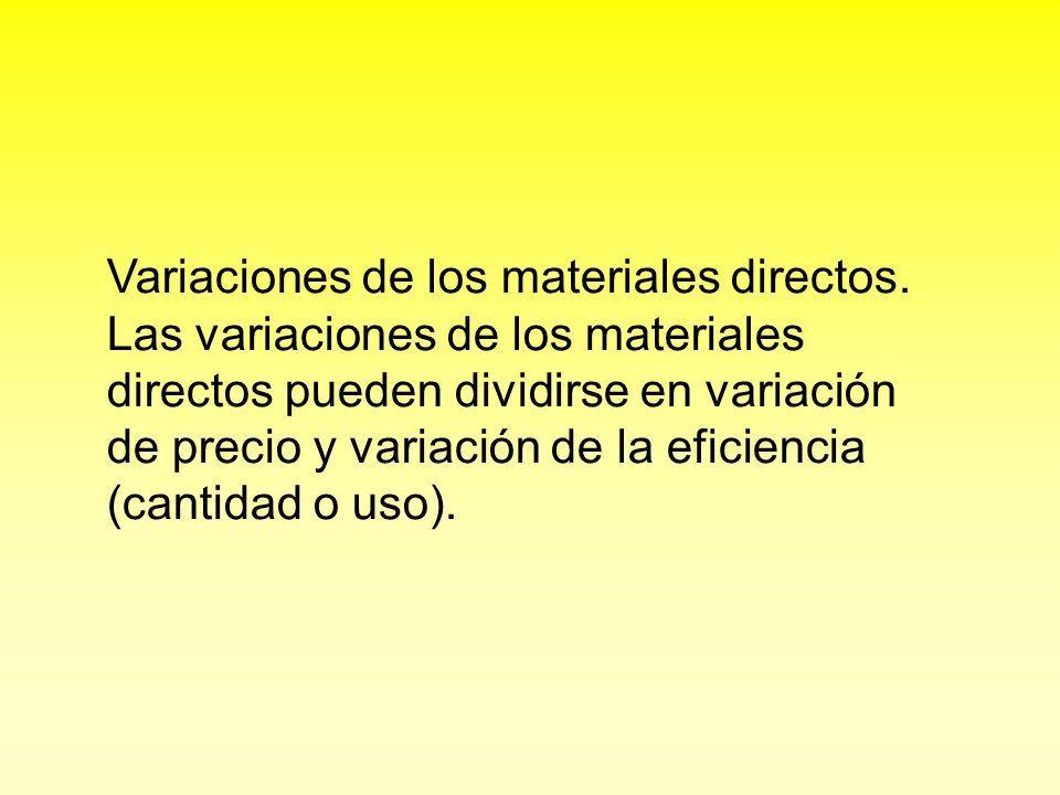 Variaciones de los materiales directos. Las variaciones de los materiales directos pueden dividirse en variación de precio y variación de la eficienci