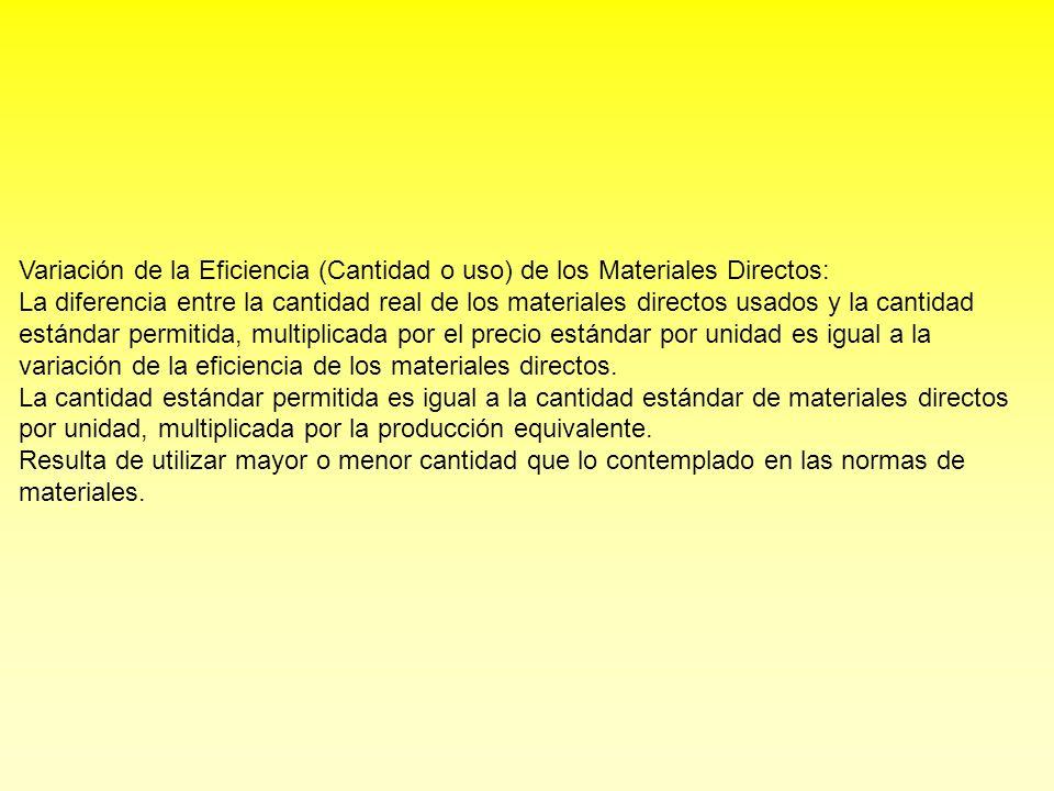 Variación de la Eficiencia (Cantidad o uso) de los Materiales Directos: La diferencia entre la cantidad real de los materiales directos usados y la ca